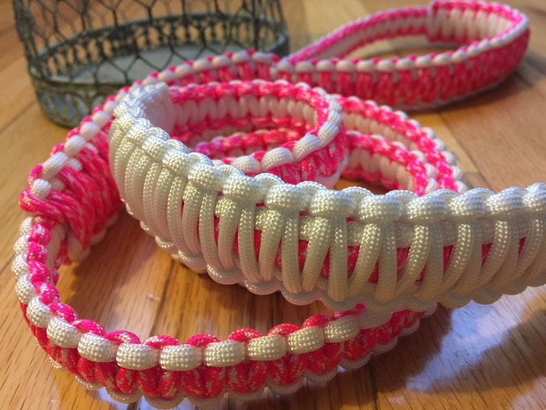 Free Shipping Made with Love Neon Pink /& White 4 ft Walk the Dog Gifts for the Dog Paracord Dog Leash Large Stainless Steel Buckle