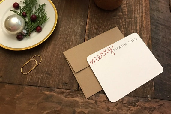 Merry Thanks Christmas Thank You Notes Hand Drawn Custom Note Cards Merry Thank You Kraft Envelopes Holiday thank you notes
