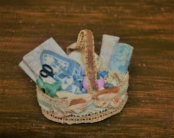Miniature Sewing Basket Hand Crafted