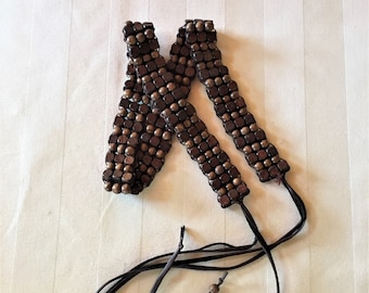 Wood Beads and Leather Belt