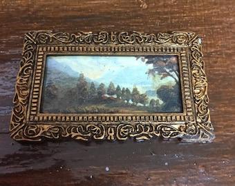 Miniature Landscape Picture in Ornate Frame