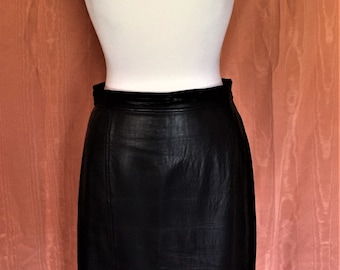 80's Knee Length Black Leather Skirt size 12