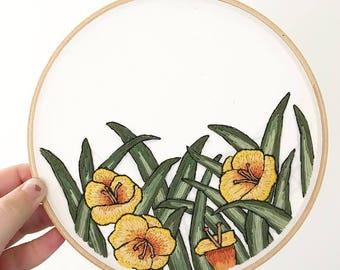 "Yellow Daylilies Hand Embroidery Wall Art  7"""