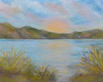 Original Pastel Painting, Landscape, Mountains, Gift, Nature, Wall Art