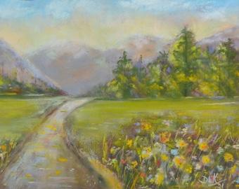 ORIGINAL PASTEL, Gift, Mountains, Flowers, Landscape