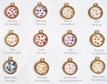 Birth Flower Necklace - Pressed Flower Necklace - Gold