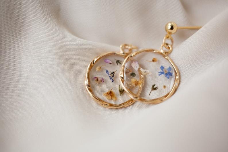 Dangle earrings pressed flower jewelry Wildflowers earrings image 0