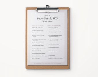 Super Simple SEO eGuide + Checklist | PDF Checklist | Website SEO | Small Business Online Traffic