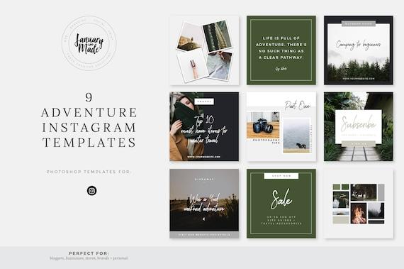 Adventure Instagram Templates Social Media Marketing Templates Pre Made Branding Designs Instagram Post Template