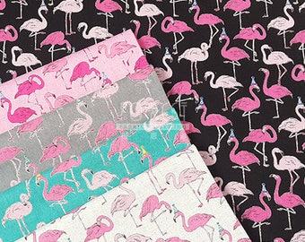 cotton Linen Flamingo Party fabric - 50cm