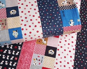 dobby - cats japanese style fabric -50cm