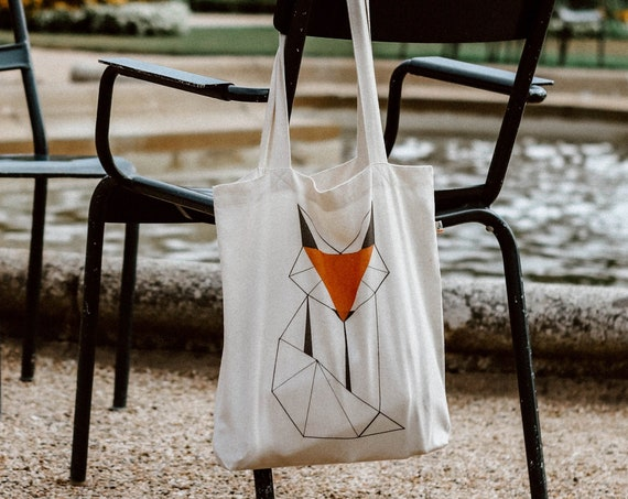Tote Bag Fox / Organic Cotton / Organic Ink / Designed in France / Original Gift Idea / Geometric Animal / Beach Bag