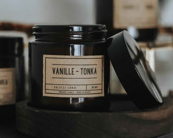 Candle n68 Vanilla Tonka / Organic Soy Wax  / Waxed Cotton Wick / Made France / Parfum de Grasse / Amber Glass Jar