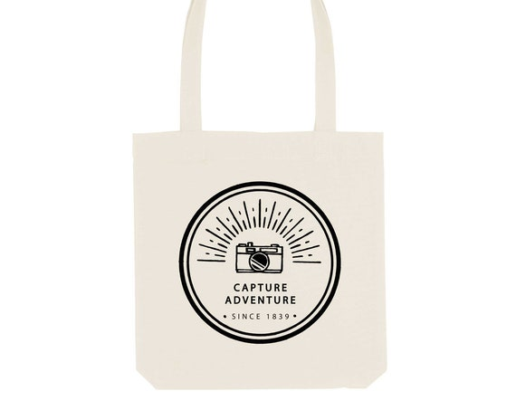 Tote bag Camera / Organic Cotton / Organic Ink / Designed in France / Original Gift Idea / Camera and Journey / Beach Bag