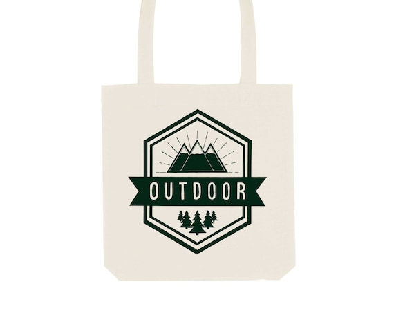Tote Bag Outdoor / Organic Cotton / Organic Ink / Designed in France / Original Gift Idea / Trip and Landscape / Beach Bag