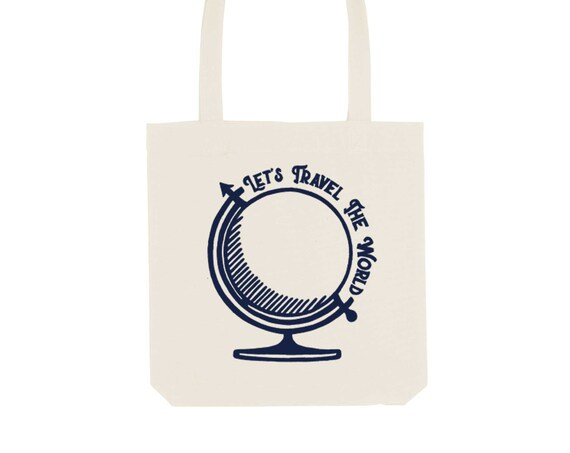 Tote Bag Globetrotter / Organic Cotton / Organic Ink / Designed in France / Original Gift Idea / Planet Trip / Beach Bag