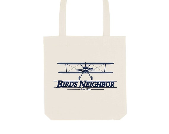 Tote Bag Oldschool Plane / Organic Cotton / Organic Ink / Designed in France / Original Gift Idea / Vintage Plane / Beach Bag