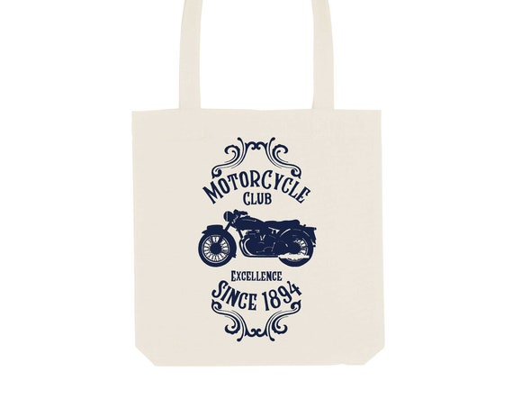 Tote Bag Motorcycle / Organic Cotton / Organic Ink / Designed in France / Original Gift Idea / History and Insect / Beach Bag