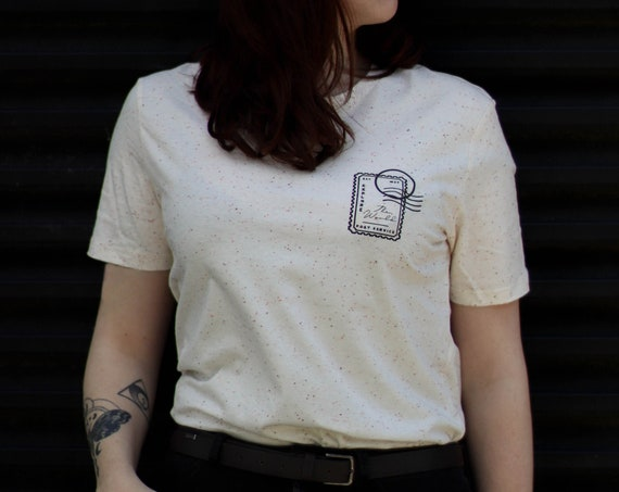 Stamp T-shirt / organic / organic ink / made in France / Original gift idea / writing and letter