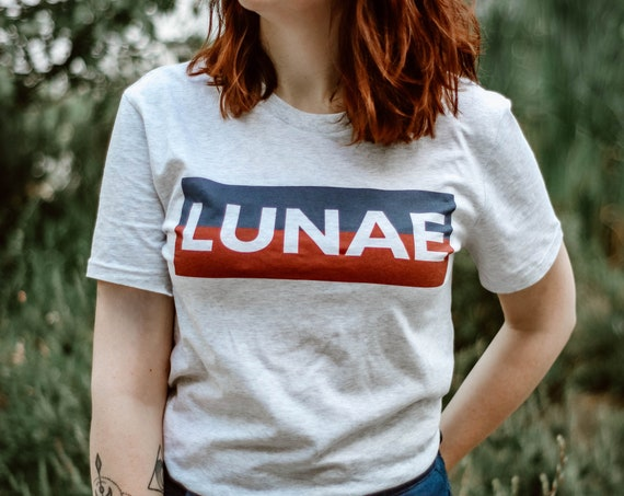 T-shirt Lunae / Organic Cotton / Organic Ink / Designed in France / Original Gift Idea / Blue and Red