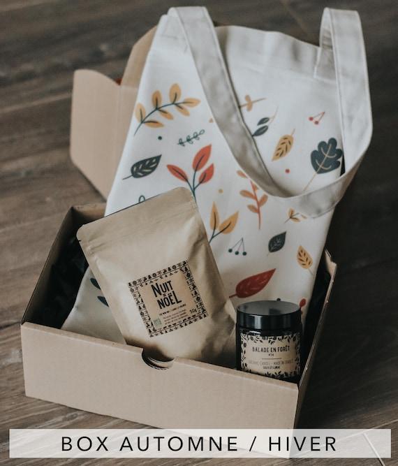 Box Cozy Seasons / Vegan Candle / Organic Black Tea / Tote bag Organic Cotton / Made in France / Gift Idea / Christmas Box / Christmas gift