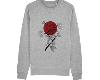 c028dda1678 Sweat-shirt Carpe Koï   Coton bio   Encre Bio   Réalisé en France   Idée  Cadeau Original   Japon et Poisson