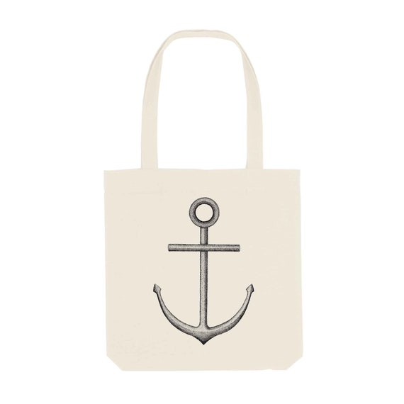 Tote Bag Anchor / Organic Cotton / Organic Ink / Designed in France / Original Gift Idea / Ship and Sea / Beach Bag
