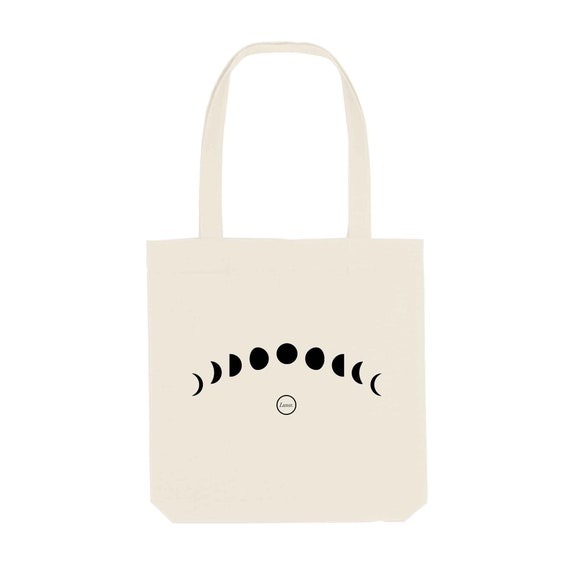Tote Bag Moon Phase / Organic Cotton / Organic Ink / Designed in France / Original Gift Idea / Moon and Space / Beach Bag