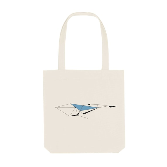 Tote Bag Whale / Organic Cotton / Organic Ink / Designed in France / Original Gift Idea / Geometric and Animal / Beach Bag