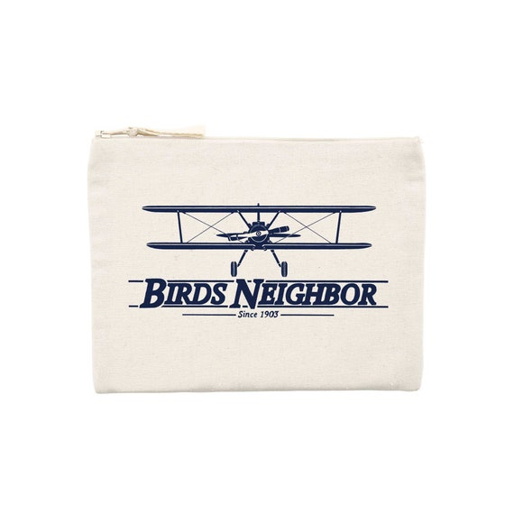 Airplane Oldschool pouch / organic / organic ink / made in France / Original gift idea / airplane and Vintage