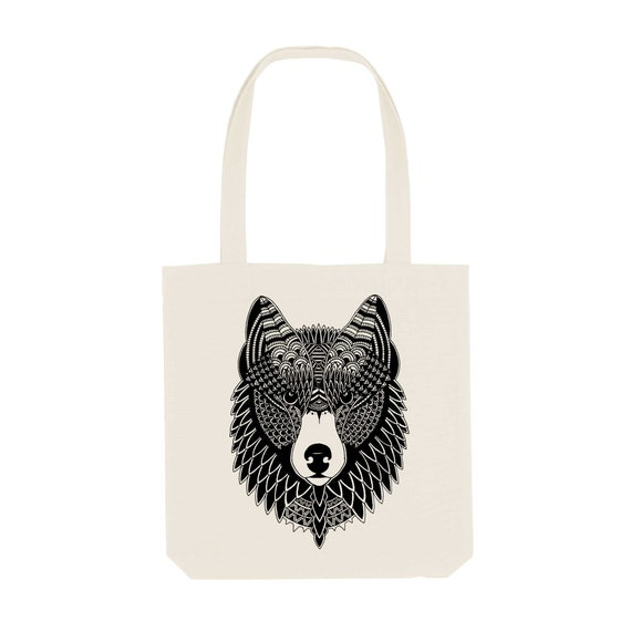 Tote Bag Wolf / Organic Cotton / Organic Ink / Designed in France / Original Gift Idea / Wolf Mandala / Beach Bag
