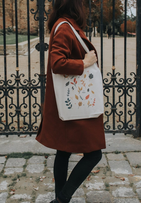 ote Bag Autumn leaves / Organic Cotton / Organic Ink / Designed in France / Original Gift Idea / Autumn and graphic / Beach Bag