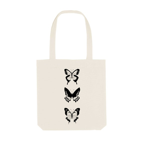 Tote Bag Butterfly / Organic Cotton / Organic Ink / Designed in France / Original Gift Idea / Flying Insect / Beach Bag