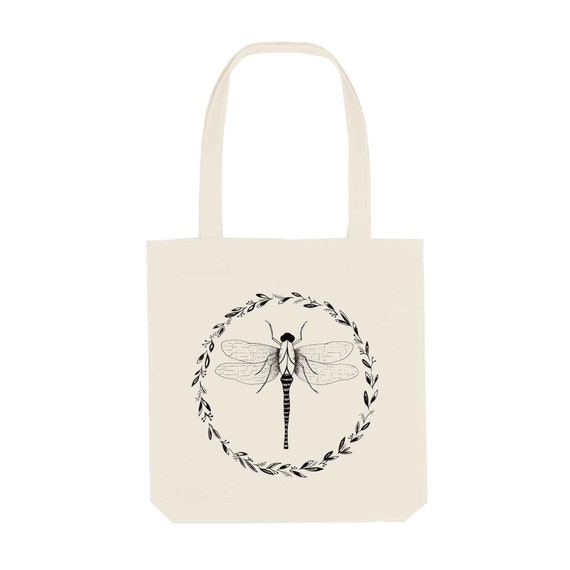 Tote Bag Dragonfly / Organic Cotton / Organic Ink / Designed in France / Original Gift Idea / Insect Design / Beach Bag