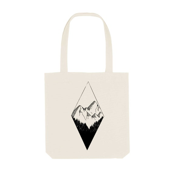Tote Bag Diamond Mountain / Organic Cotton / Organic Ink / Designed in France / Original Gift Idea / Geometric Landscape / Beach Bag