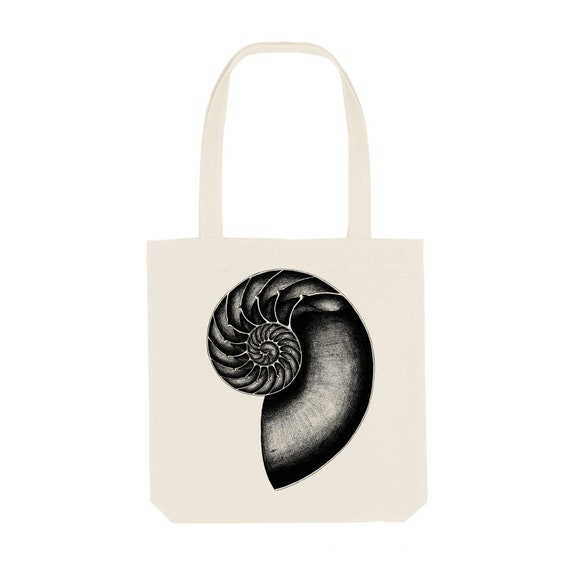 Tote Bag Nautilus / Organic Cotton / Organic Ink / Designed in France / Original Gift Idea / Sea Shell / Beach Bag