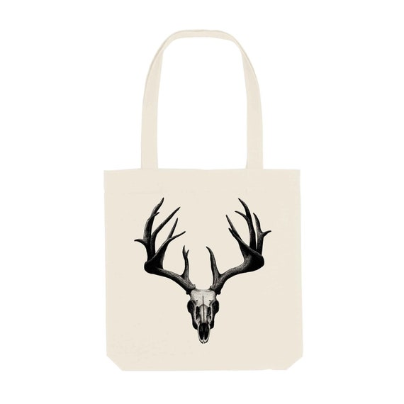 Tote Bag Deer Skull / Organic Cotton / Organic Ink / Designed in France / Original Gift Idea / Animal Skeleton / Beach Bag