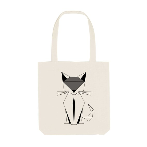 Tote Bag Cat / Organic Cotton / Organic Ink / Designed in France / Original Gift Idea / Geometric and Animal / Beach Bag