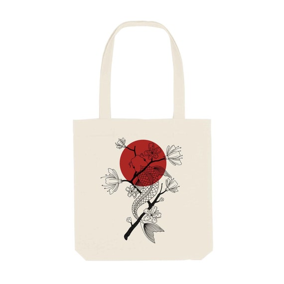 Tote Bag Koi / Organic Cotton / Organic Ink / Designed in France / Original Gift Idea / Japan and Fish / Beach Bag