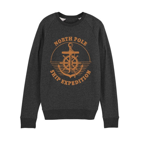 Sweatshirt ship shipping / organic / organic ink / made in France / Original gift idea / boat and Exploration