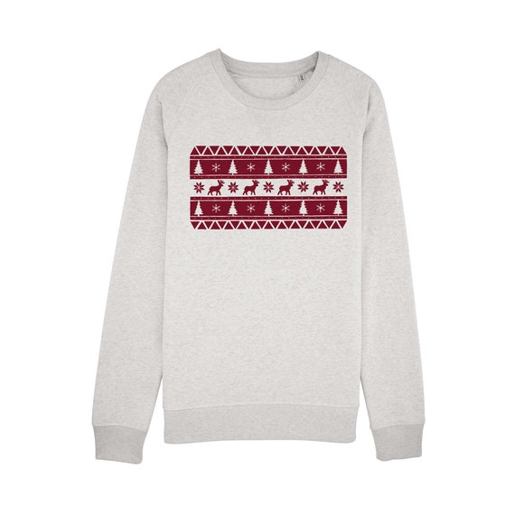 Sweat-shirt Motif Noël Bordeaux