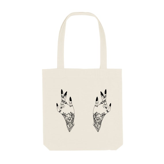 Tote Bag Hand / Organic Cotton / Organic Ink / Designed in France / Original Gift Idea / Women and Tattoo / Beach Bag