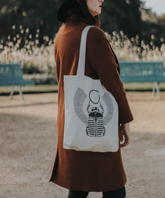 Tote Bag Egyptian Scarab / Organic Cotton / Organic Ink / Designed in France / Original Gift Idea / History and Insect / Beach Bag