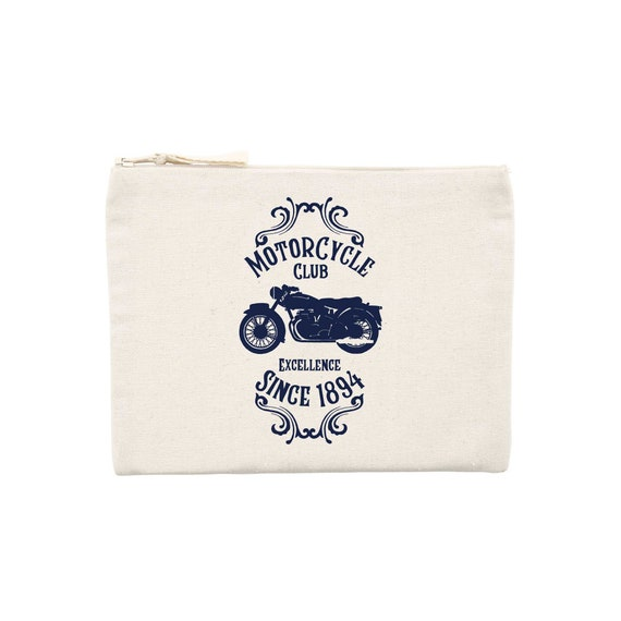 Motorcycle clutch / organic / organic ink / made in France / Original gift idea / motorcycle and Vintage