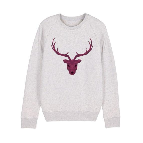 Deer geometric Sweatshirt / organic / organic ink / made in France / Original gift idea / Animal and geometric