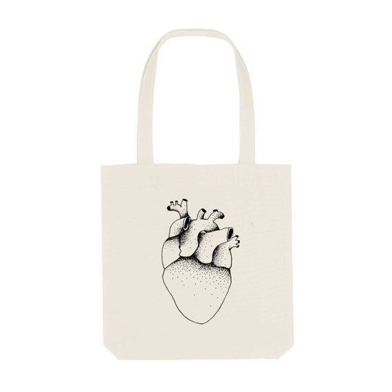 Tote Bag Heart / Organic Cotton / Organic Ink / Designed in France / Original Gift Idea / Anatomic Drawing / Beach Bag