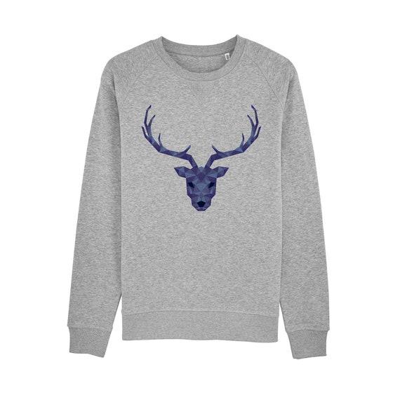 Deer geometric blue Sweatshirt / organic / organic ink / made in France / Original gift idea / Animal and geometric