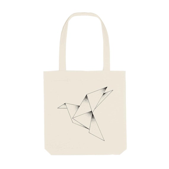 Tote Bag Origami / Organic Cotton / Organic Ink / Designed in France / Original Gift Idea / Bird and Paper / Beach Bag