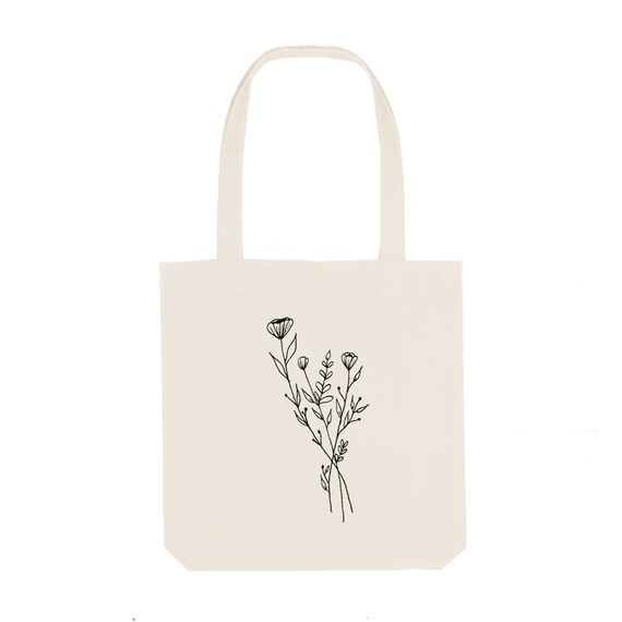 Tote Bag Flower Strand / Organic Cotton / Organic Ink / Designed in France / Original Gift Idea / Flower and Bouquet / Beach Bag