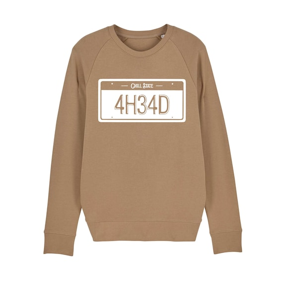 Sweatshirt car plate / organic / organic ink / made in France / Original gift idea / car and license plate